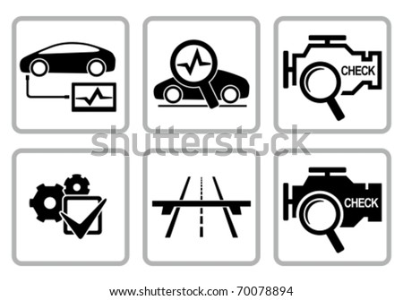 Magnifying glass with check engine icon. Vector engine diagnostics concept sign. Stock photo © kyryloff