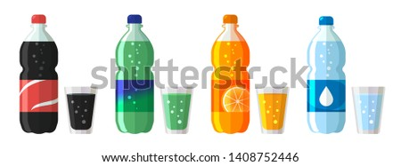 set of plastic bottle of water and sweet soda with glasses. Flat vector water soda icons illustratio Stock photo © MarySan