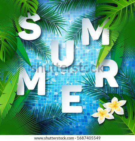 Agua azulejos piscina plantilla de diseño tropicales plantas Foto stock © articular