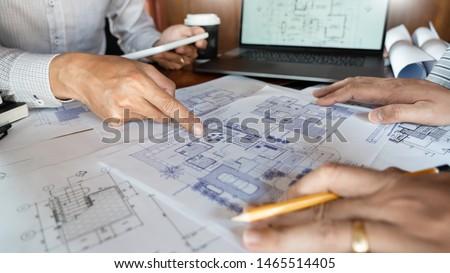 Zdjęcia stock: Inżynier · zespołu · pracy · niebieski · wydruku · architekta