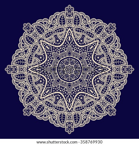 Mandala lace vector pattern, monochrome round design with flowers and swirls in black and white Stock photo © RedKoala