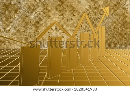 Abstract financial three graph with uptrend line and bar chart of stock market on black color backgr Stock photo © kyryloff
