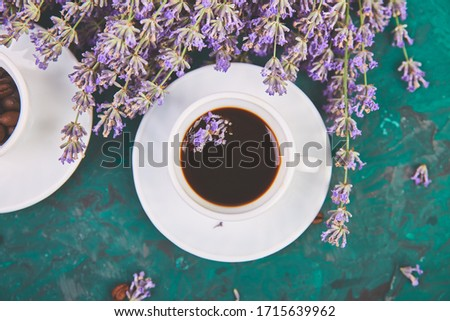 Coffee, coffee grain in cups and lavender flower on green background Stock photo © Illia