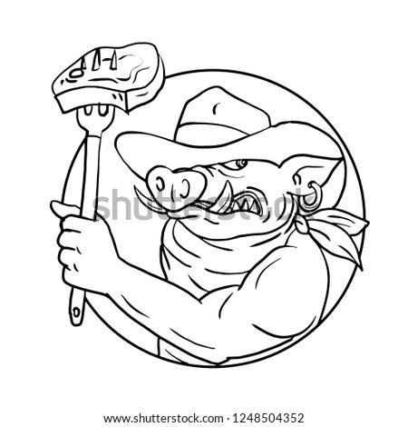 Cowboy wieprzowych grill stek Zdjęcia stock © patrimonio