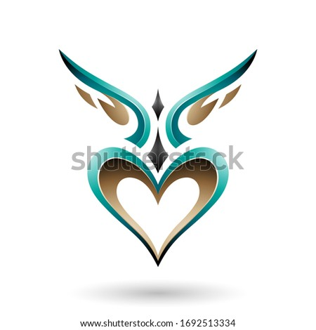 Persian Green Bird Like Winged Heart with a Shadow Vector Illust Stock photo © cidepix