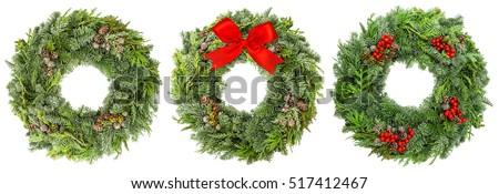 Ano novo natal coroa pinho decorado Foto stock © olehsvetiukha