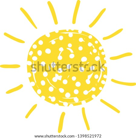 Cute hand drawn vector sun with polka dots texture in flat style for icons and summer designs Stock photo © Pravokrugulnik