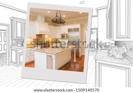 Gewoonte keuken tekening foto fotolijstje afgewerkt Stockfoto © feverpitch