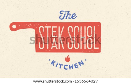 Meat logo. Logo for Steak School with icon chef knife, text typography Stock photo © FoxysGraphic