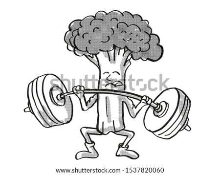 Broccoli Healthy Vegetable Lifting Barbell Cartoon Retro Drawing Stock photo © patrimonio