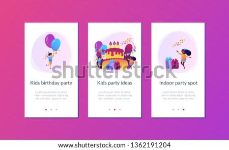 Gyerekek születésnap app interfész sablon boldog Stock fotó © RAStudio