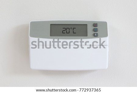 Vintage digital thermostat - Covert in dust - 20 degrees celcius Stock photo © michaklootwijk