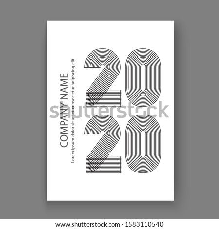 Cover Annual Report numbers 2020 in thin lines. Year 2020 text design in colour trend lush lava on w Stock photo © cosveta