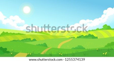 Stok fotoğraf: Yaz · yeşil · alanları · vektör · stilleri