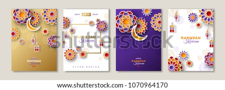 Ramadan Kareem greeting card. islamic banner design with silhouette element of moon and dome mosque. Stock photo © taufik_al_amin