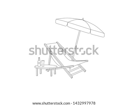 Tabela guarda-sol praia convés cadeira assinar Foto stock © Terriana