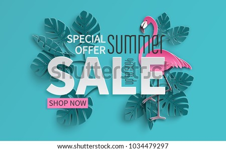 Summer Sale Poster Design Template with Flower and Exotic Leaves on Green Background. Tropical Flora Stock photo © articular