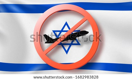 Forbbiden sign with crossed out plane on the background of French flag. Stock photo © artjazz