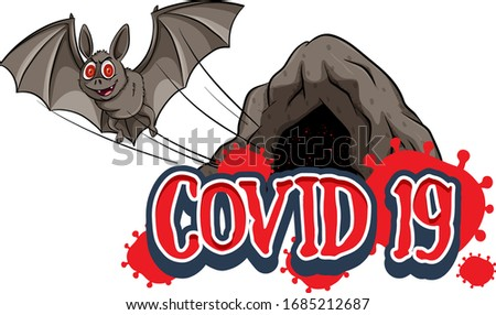 Stock photo: Poster design for coronavirus theme with bat flying out of the c