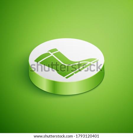 Gardening boots. Icon on a green circle. Footwear vector illustration Stock photo © Imaagio