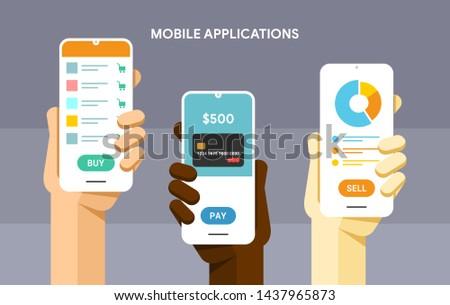 Smartphone main humaine Shopping mobiles portefeuille Photo stock © karetniy