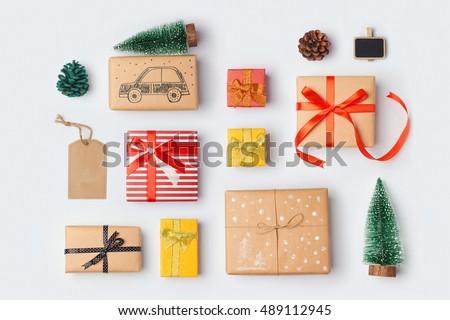 クリスマス 現在 包装紙 リボン はさみ 黒 ストックフォト © galitskaya