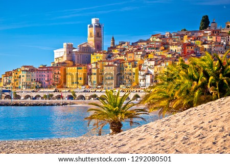 Colorful Cote d Azur town of Menton beach and architecture panor Stock photo © xbrchx