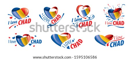 The national flag of the Chad and the inscription I love Chad. Vector illustration Stock photo © butenkow