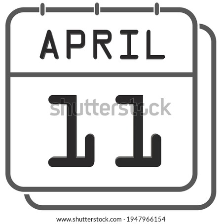 Simple black calendar icon with 11 april date isolated on white Stock photo © evgeny89