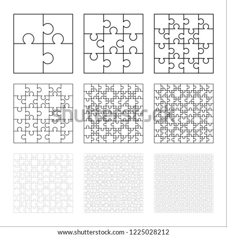 Large set of white puzzles pieces in square shape. Jigsaw Puzzle template ready for print. Cutting g Stock photo © evgeny89