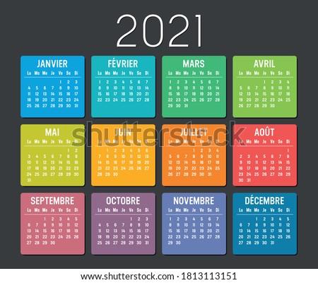 Año simple calendario francés idioma oscuro Foto stock © evgeny89