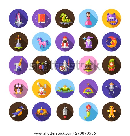 Set of gnome and fairy tale icon fantasy cartoon character  on w Stock photo © bluering