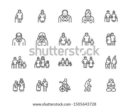 Vector Set Of Elder People Stok fotoğraf © Nadiinko