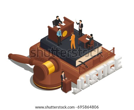 Justice Books Law And Judgement isometric icon vector illustration Stock photo © pikepicture
