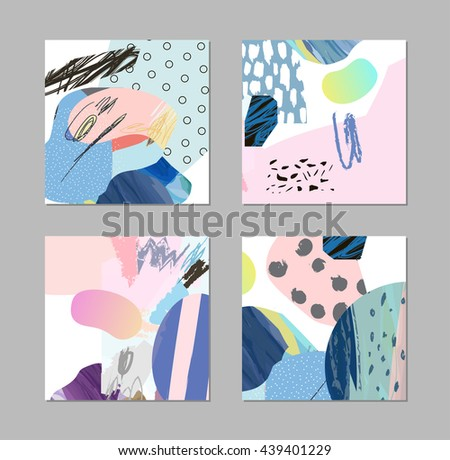 Set of bright decorative covers. Abstract colorful posters with creative thunderbolt prints Stock photo © ExpressVectors