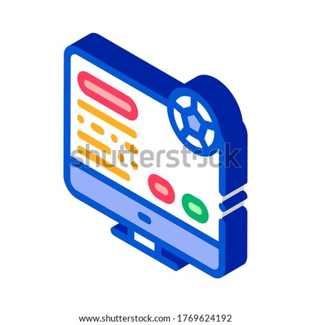 Soccer Website On Screen isometric icon vector illustration Stock photo © pikepicture