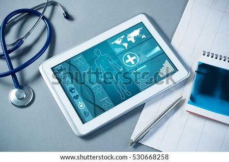 Tablet pc and doctor tools Stock photo © ra2studio
