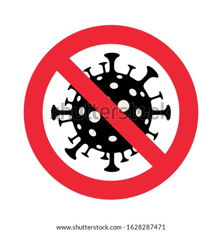 Vector icon with crossed out sign with dangerous virus at balck background, stop spreading virus Stock photo © robuart