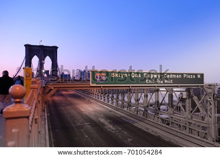 sign on pillar of Brooklyn Bridge, Manhattan, New York City, USA Stock photo © phbcz