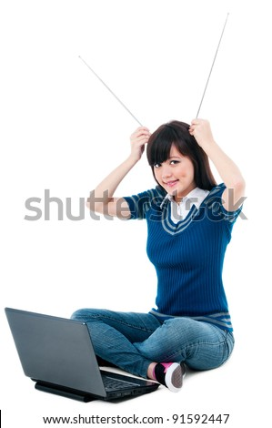 Casual Female With Laptop and Holding Antennas On Head Stock photo © williv