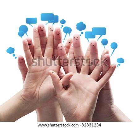Boldog csoport ujj emotikonok társasági chat Stock fotó © oly5