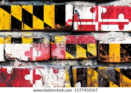 американский · флаг · кирпичная · стена · текстуры · стены · звездой · цвета - Сток-фото © vepar5