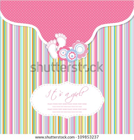 Baby Girl Shower Card With Foot Steps And Frame For Your Text Stock fotó © mcherevan