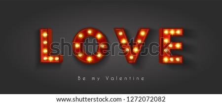Stock photo: Heart love light bulb wedding vector. Valentine's day or christmas background.
