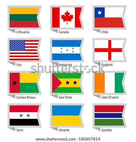 Flags of world, flat. Set number 01 Stock photo © Ecelop