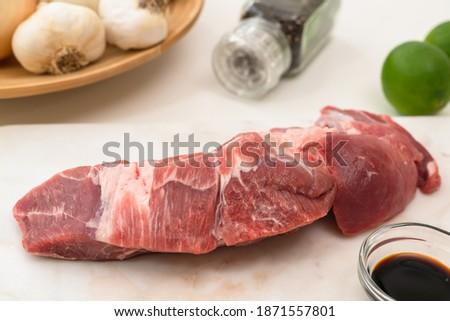 grelhado · suculento · carne · carne · de · porco · bife · fatia - foto stock © phila54