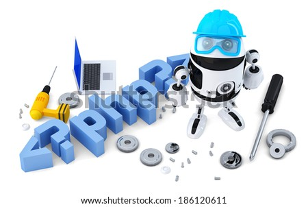 Robot with PHP sign. Technology concept. Isolated on white background. Containsclipping path Stock photo © Kirill_M