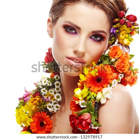 Beautiful young woman with gerber flower isolated on white backg Stock photo © Nejron