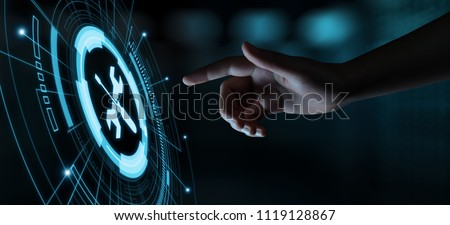 technical support with tools sign and 24/7 customer service, two Stock photo © marinini