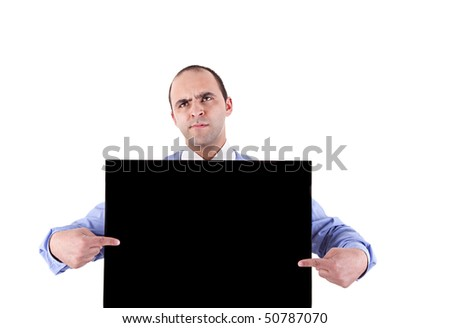 Young businessman holding a blackboard displaying the sign of success Stock photo © alexandrenunes